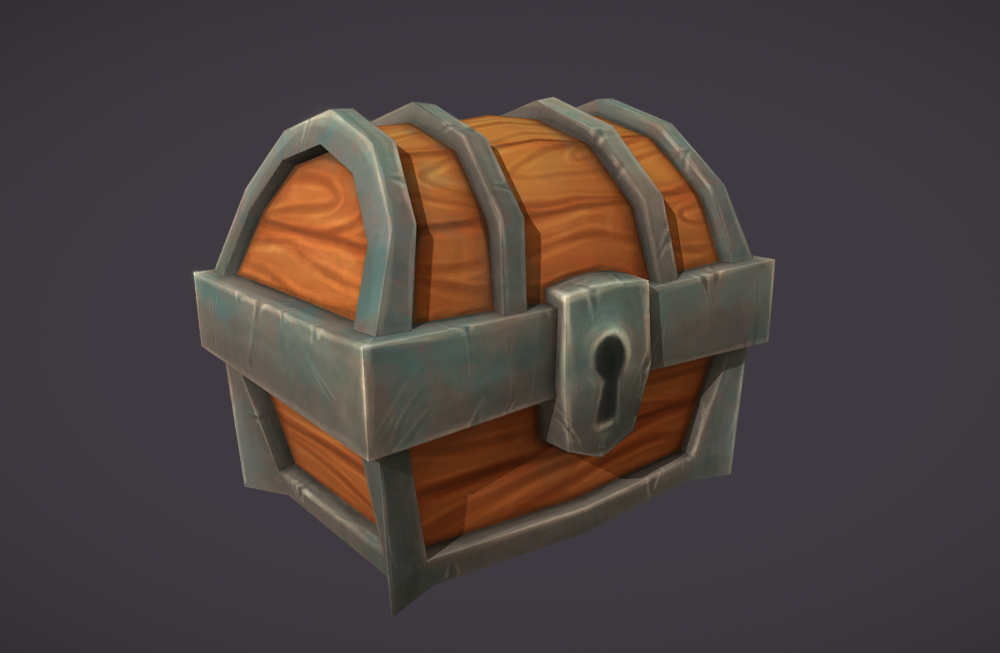 low-poly-treasure-chest低多边形宝箱手绘模型下载插图